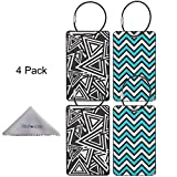 Luggage Tag, Wisdompro 4 Pack PVC Luggage Tag with Metal Wire Ring for Travel Identifier and Suitcase Label(Triangle+Ripple)