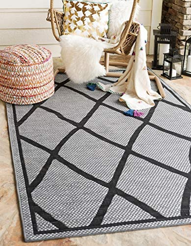 Unique Loom Outdoor Trellis Collection Geometric Lattice Transitional Indoor and Outdoor Flatweave Gray Area Rug 5 0 x 8 0