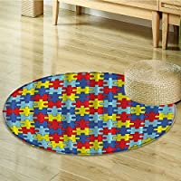 Colorful Autism Awareness Puzzle Pieces Room Fashion Home Daycare Kindergarden Decor Accent Sweet Dreamy Lovely Art Prints for Kids Unisex Play Theme Print Fabric Circle carpet-Diameter 60cm(24)