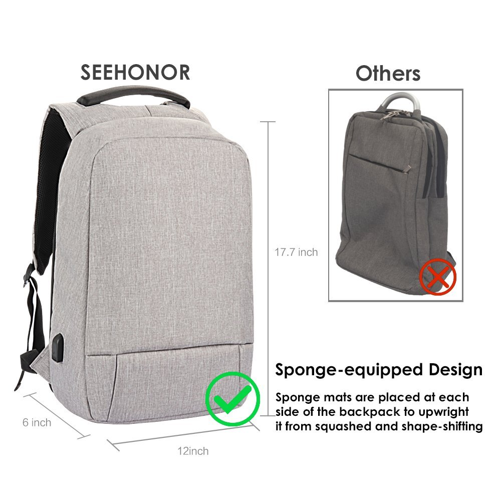 Laptop Backpack, Slim Business Computer Backpack with USB Charging Cable and Port, Water Resistant Anti-Theft Travel School Bags Fits Under 17 Inch Laptop by SEEHONOR (Image #5)