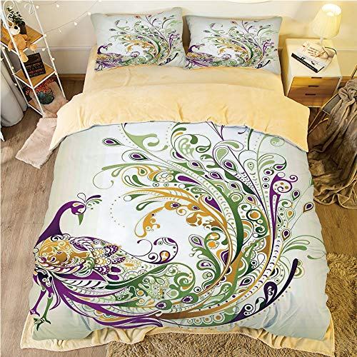 - Flannel Duvet Cover Set 4 pieces Bedlinen Winter Holiday for bed width 6ft Pattern Customized bedding for boys and young children,Abstract Home Decor,Peacock Bird Tail Feather Plume Paisley Pattern Or