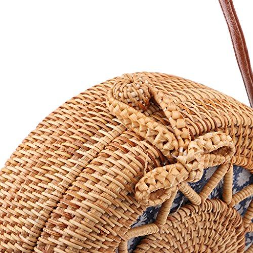 Redonda de Ratán a 04 de Forma Bolso de Tejido Fresco Verano Hombro Mano Playa para de Crossbody Vietnam Dibujo DOLITY Elegante D n40gwq7n