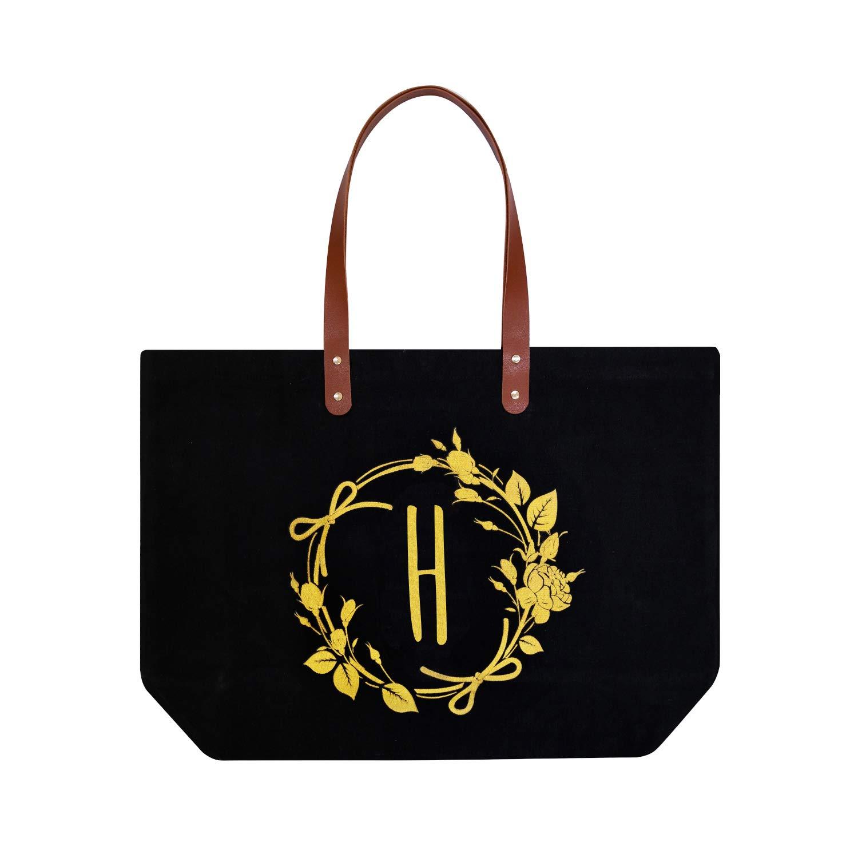 ElegantPark H イニシャル モノグラム パーソナライズ トラベル メイクアップ コスメティック バッグ ショルダー トート ジッパーキャンバス付き One size ブラック B07P5WP1S4 Black H-Shoulder Bag