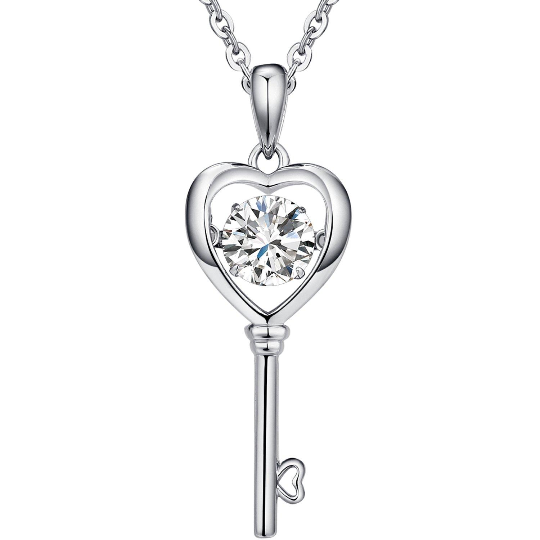 222e37f87c61e Amazon.com  Han han 925 Sterling Silver Heart Key Pendant Necklace 18
