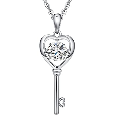 51f751b9f Amazon.com: Han han 925 Sterling Silver Heart Key Pendant Necklace 18