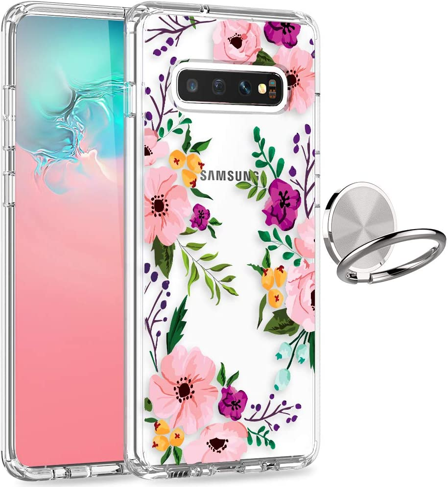 Galaxy S10 Plus Case, LUHOURI Clear Floral Girls Women Heavy Duty Shockproof Protective Hard PC Back Case with Slim TPU Bumper Cover Phone Case for Samsung S10+