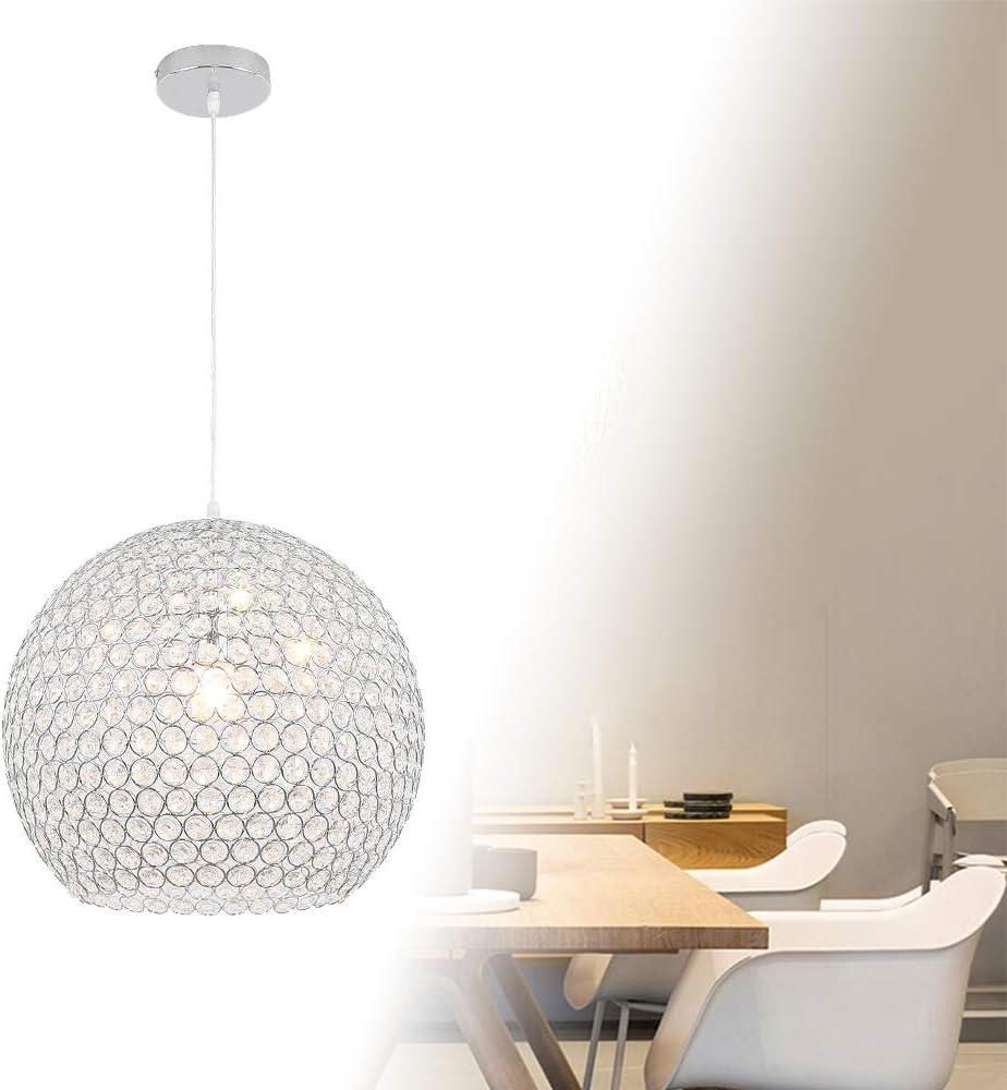Sph/ärisch Froadp Kristall H/ängelampe Metall Lampenschirm L/üster Pendelleuchte E27 Sockel Modern Design Deckenlampe mit Keine Gl/ühbirne enthalten f/ür Wohnzimmer Schlafzimmer