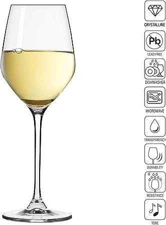 Krosno Pequeño Copas de Vino Blanco | Conjunto de 6 Piezas | 200 ML | Splendour Collection Uso en Casa, Restaurante y en Fiestas- | Apto para Microondas y Lavavajillas