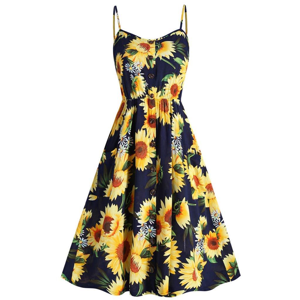 Women's Mini Button Down Beach Sundress Summer Sexy Sunflower Printed Dress Adjustable Spaghetti Strap Casual Swing Boho Dress (Navy, Asia Size:XL)