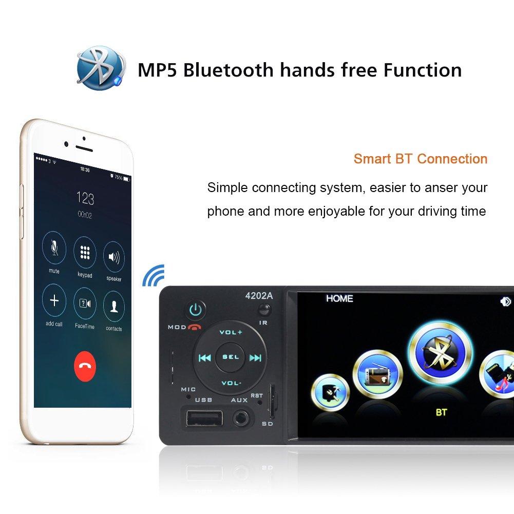 Bluetooth Autoradio con Pantalla 4.1 HD,Reproductor MP3 MP5 con Entrada de Cámara de Visión Trasera, Radio de Coche Auto Estéreo Vídeo FM Radio USB/TF/AUX ...