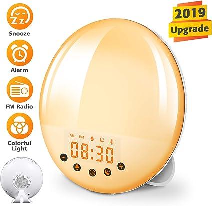 KINGSO Lampe Réveil Radio Réveil Horloge avec Simulation LeverCoucher du Soleil, Fonction Snooze, 9 Sonneries, 8 Couleurs, 30 Niveaux de Luminosité,