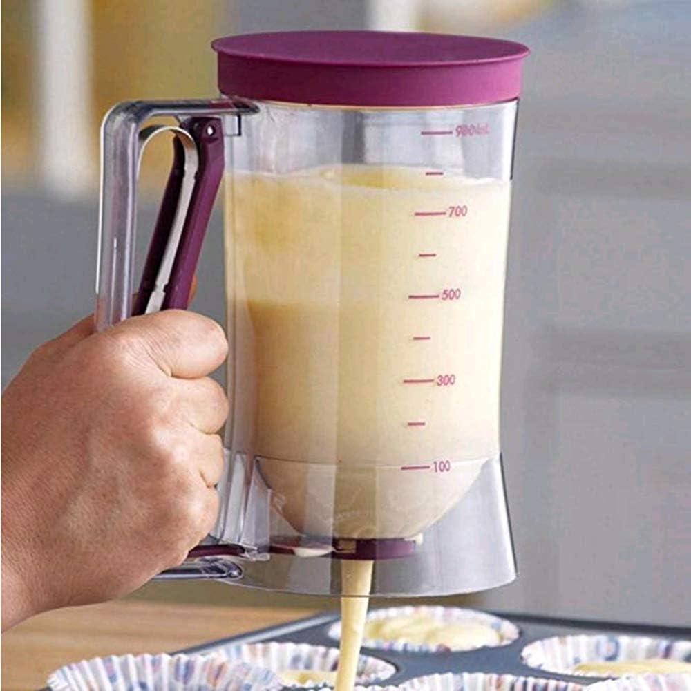 ECOSWAY Dispensador de masa de pl/ástico transparente de 900 ml para hacer magdalenas embudo de masa con etiqueta de medici/ón gofres
