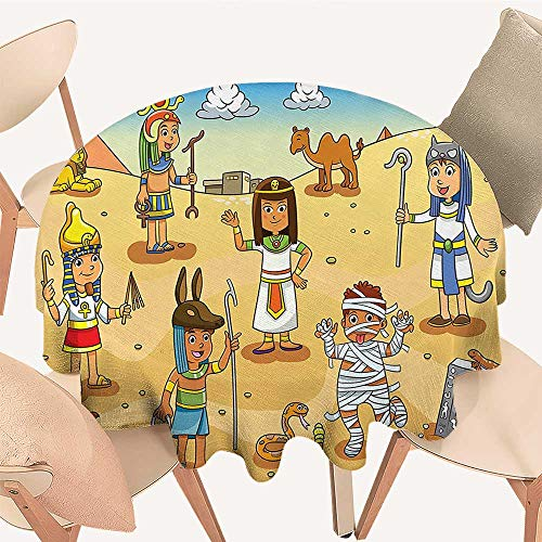 Dragonhome Round Fitted Tablecloth Illustration of Historical Egyptian Characters with Pyramids Cleopatra King Mummy Child De for All Occasions, 47 INCH Round