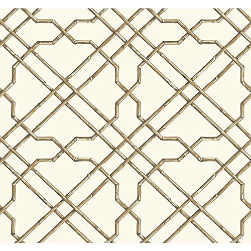 - York Wallcoverings Tropics Bamboo Trellis Removable Wallpaper, White, Tan, Brown