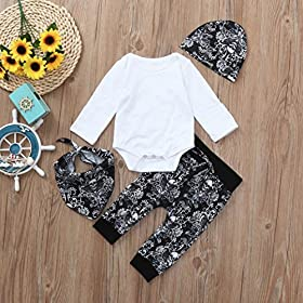 - 612cLHV aCL - Toddler Baby Boys Girls Clothes 4Pcs Sets for 0-24 Months,Lovely Halloween Spider Web Tops Pants Bibs Hats Outfits Sets