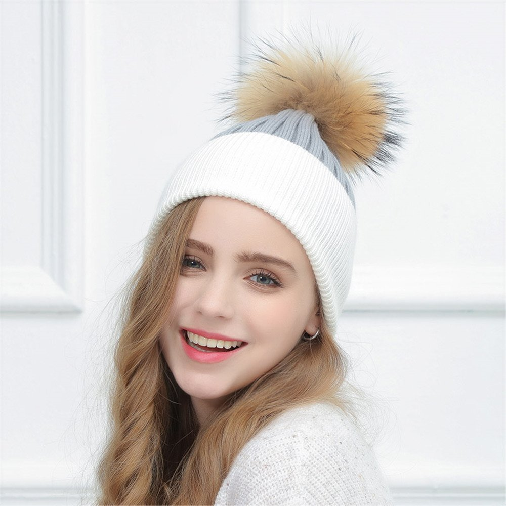 Donna cappello di lana, inverno semplice, doppio colore berretto lavorato a maglia, cute capelli grande tappo a sfera, autunno inverno M (56-58cm),m (56 58cm),è