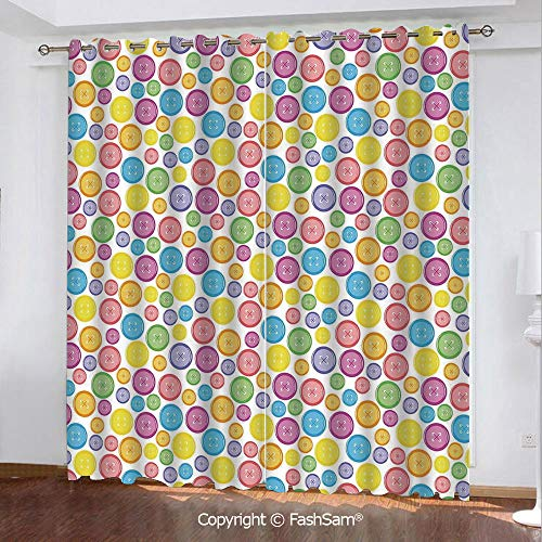 FashSam Thermal Insulated Blackout Curtains Circular Shaped Buttons Pattern in Various Sizes Artistic Kids Nursery Baby Print Darkening Panel for Bedroom(55