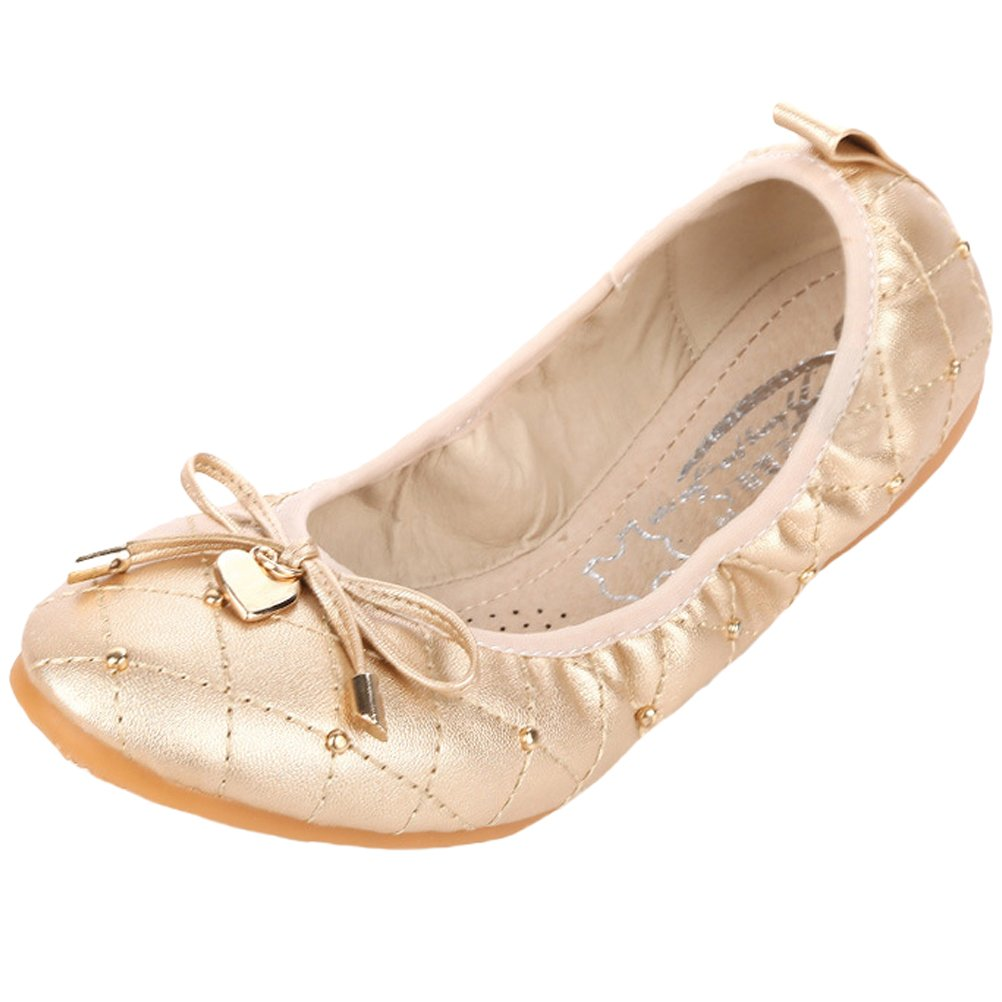 Minibee Women's Casual Foldable Portable Travel Ballet Flat Shoes Gold CH41/US 9