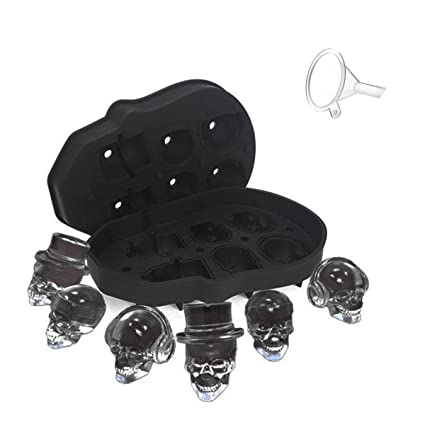 Tee-Moo Molde de cubitos de hielo de silicona 3D Skull, Bandeja de molde