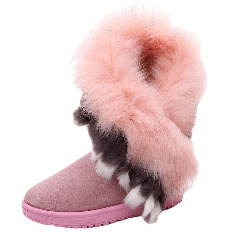 King Ma Women's Faux Rabbit Fur Tassel Winter Snow Boot Suede Flat Ankle Boots