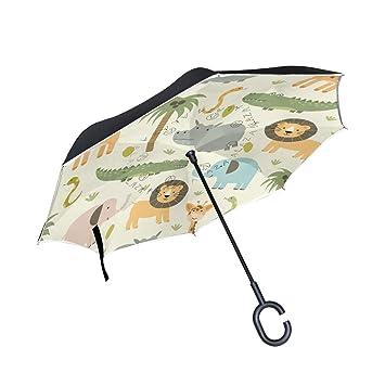 ALINLO - Paraguas invertido de Dibujos Animados de Elefante de león, Doble Capa, Paraguas