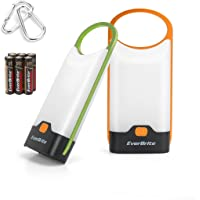 EverBrite 2-Pack Slim Camping Lantern LED Flashlight 150 Lumens with Carabiners Green&Orange for Camping Exploring…