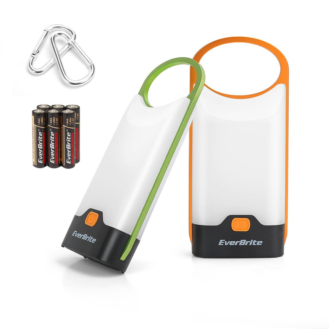 EverBrite Camping Lantern Slim LED Flashlight 2-Pack 150 Lumens with Carabiners Green&Orange for Camping, Emergency, Hurricane, Power Outage 6 AAA Alkaline Batteries Included