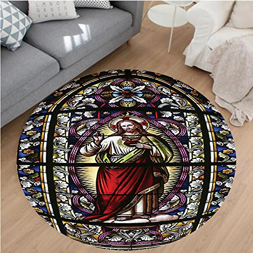 Nalahome Modern Flannel Microfiber Non-Slip Machine Washable Round Area Rug-Gifts Believe Art Christian Church Cathedral Window View Silky Satin Red Black White Blue area rugs Home Decor-Round 71'' by Nalahome