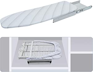 Lehom Hide-Away Ironing Board Drawer Slide-Out Folding Ironing Board Pull Out Iron Board Stow-Away Ironing Board 180° Swivel Retractable Ironing Board Hide Away in Drawer Space Saving White