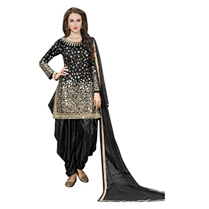b4466c585d Amazon.com: Black Bollywood Mirror Work Silk Punjabi Wedding Patiyala Dhoti Salwar  Kameez Muslim Women Indian Dress Suit 7111: Home Improvement