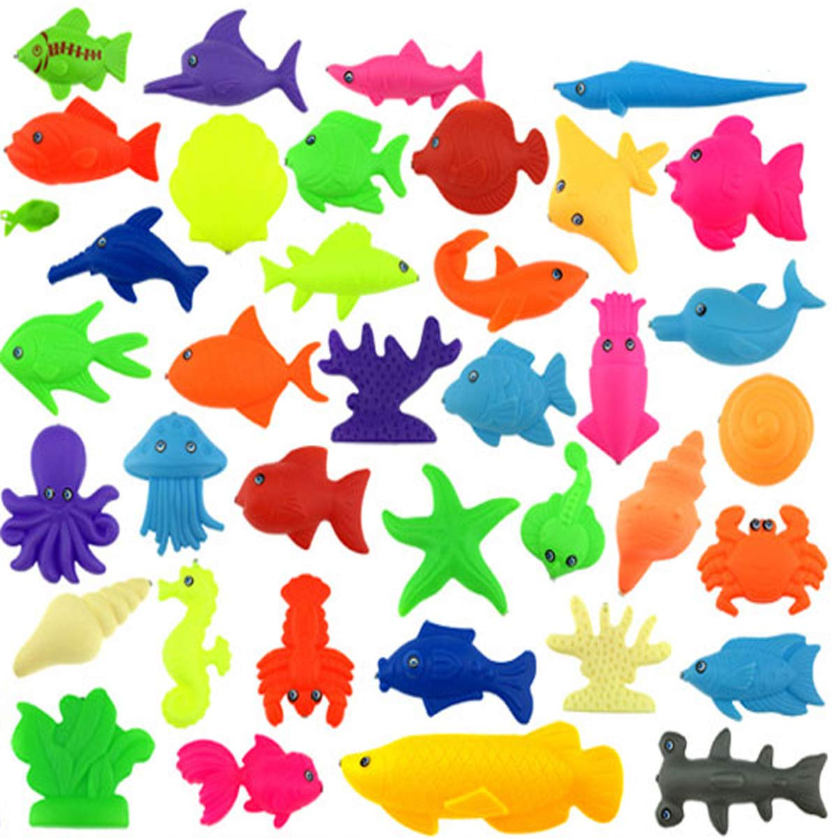 Waterproof Floating Fishing Play Set in Bathtub Pool Bathtime Learning Education Toys For Boys Girls Toddlers Fishing Game For Kids Random Styles CloverTale 65 Pieces Magnetic Fishing Toys Set Baby Bath Toys