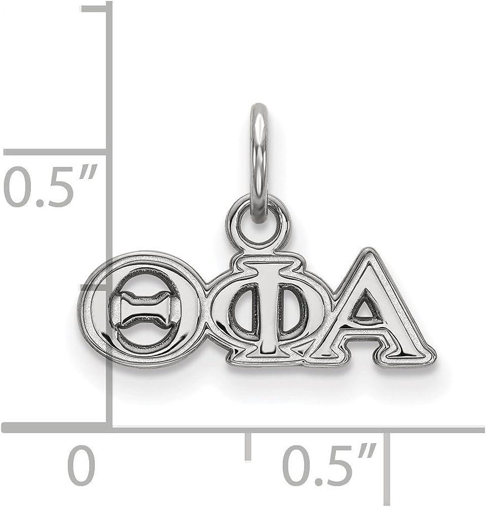 White Sterling Silver Charm Pendant Greek Theta Phi Alpha 11 mm 16