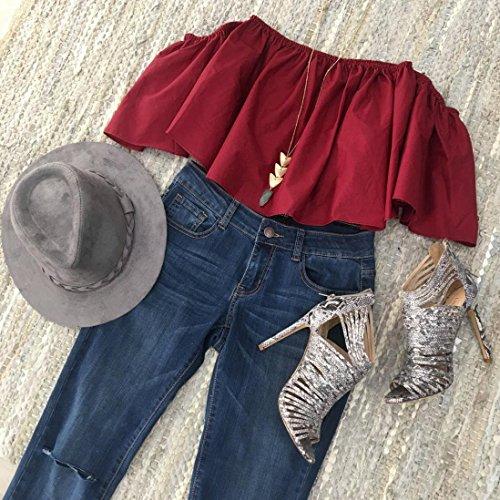 casual spalla maglietta Koly delle Rosso dalla superiore donne Estate camicetta fuori TX8zS