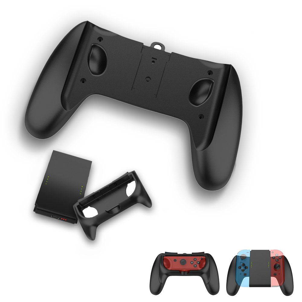 TealTech 2-in-1 Multifunction Joy-Con Charging Grip Kit, 2 Way Joy-Con Kits with Joy-Con Charging Grip for Nintendo Switch (Black)