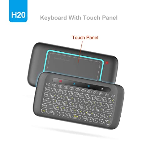 18112c74dd3 H20 2.4GHz Mini Wireless Keyboard with Remote Mouse Combo Backlit  Multi-Touch Touchpad,