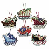 Sleigh Ride Cross Stitch Ornament Kits Mill Hill 2017 (Set of 6: Celestial, Evergreen, Toyland, Traditional, Vintage, Woodland)