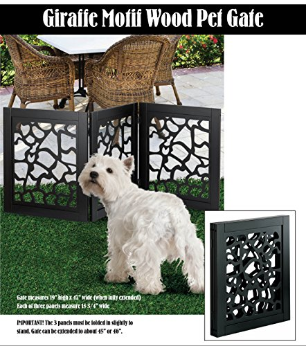 (DIE-CUT 3 PANEL ADJUSTABLE WOOD GIRAFFE MOTIF PET GATE)