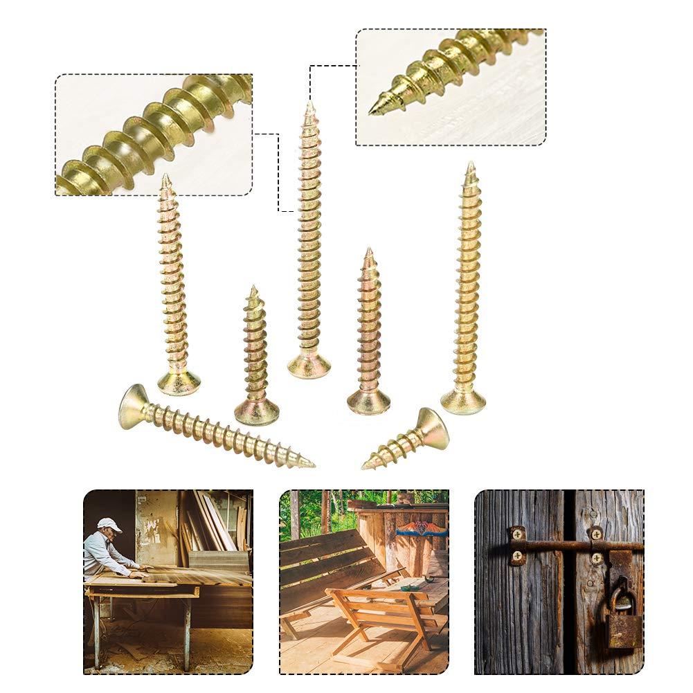 vis /à t/ête cylindrique /à cloison s/èche 16//20//25//30//35//40//50 mm 200 kits de vis /à bois auto-perceuses /à filetage grossier M4 4 mm x