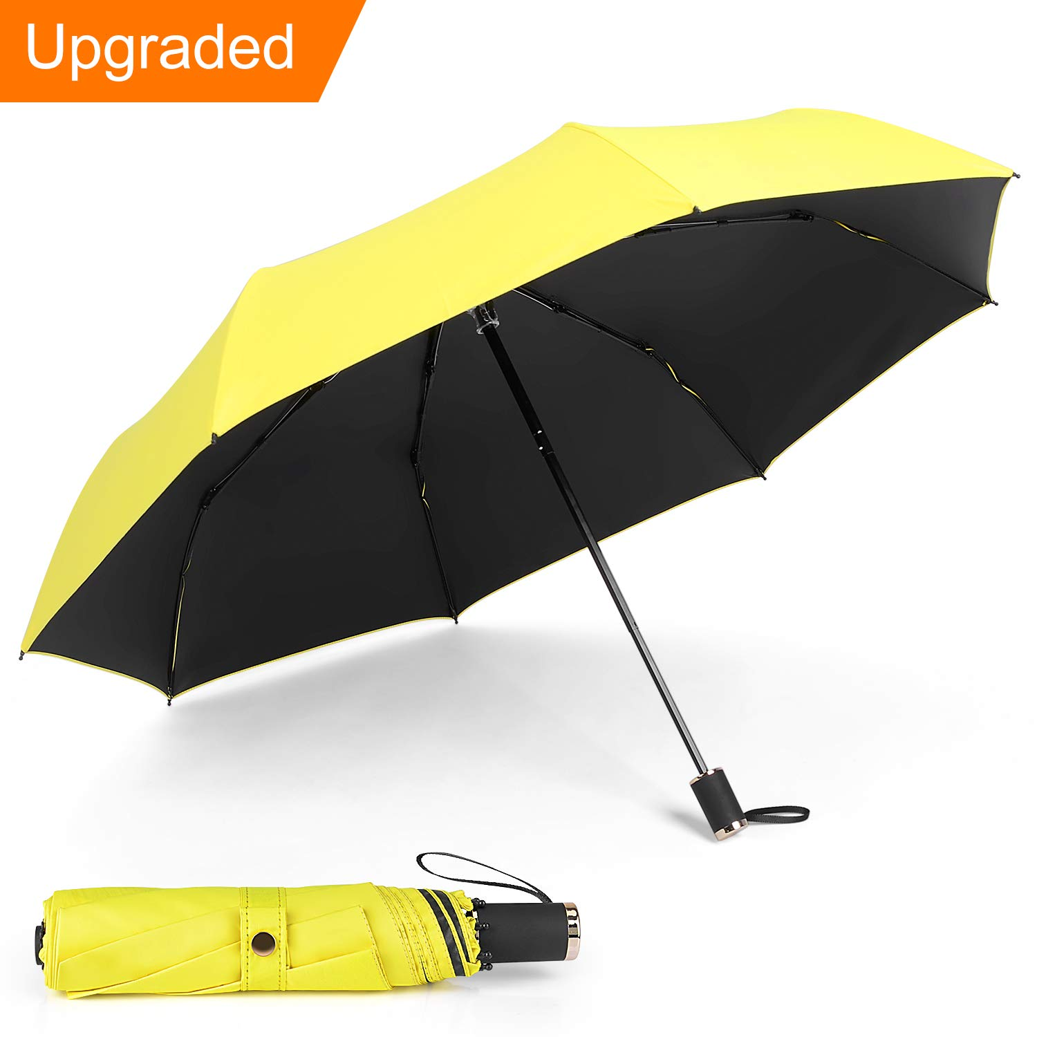 IEOKE Compact Umbrella, Travel Umbrella Windproof Sun Umbrella With Sleeve Foldable Lightweight for easy carry -8 Ribs(Yellow)