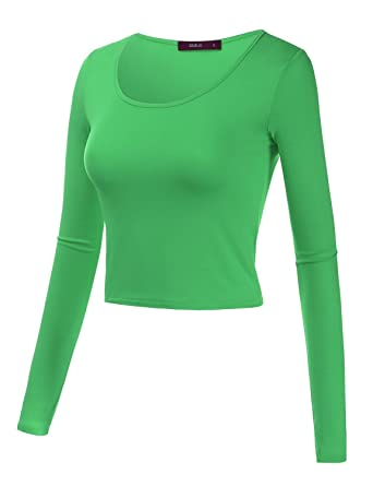 e6f7f6e8ce8ba Doublju Basic Long Sleeve Crop Top For Women With Plus Size - Green -   Amazon.co.uk  Clothing