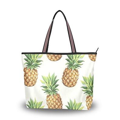 eae85324e4 ALAZA Cute Summer Pineapple Vector Large Tote Top Handle Shoulder Bags  Handbags for Women Ladies