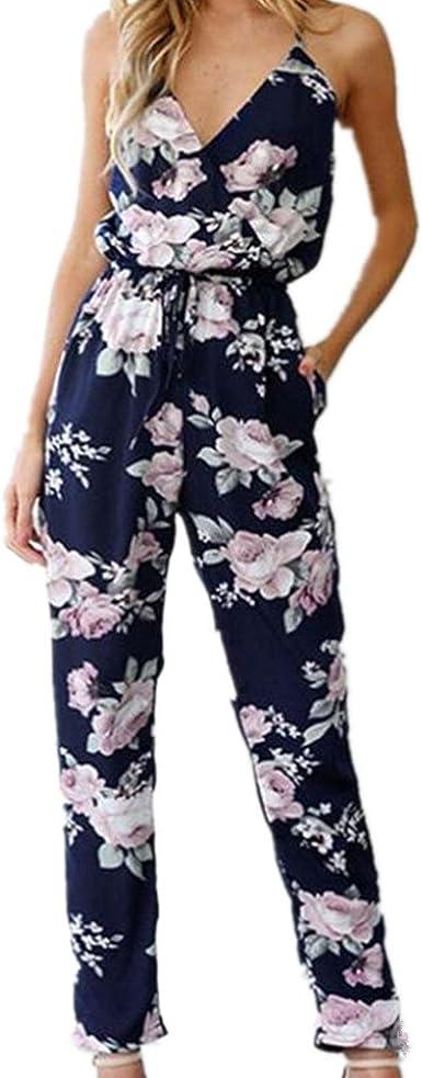 Sunmner Women Strap Backless Jumpsuit Halter Sleeveless Floral Print Shorts Beach Jumpsuit