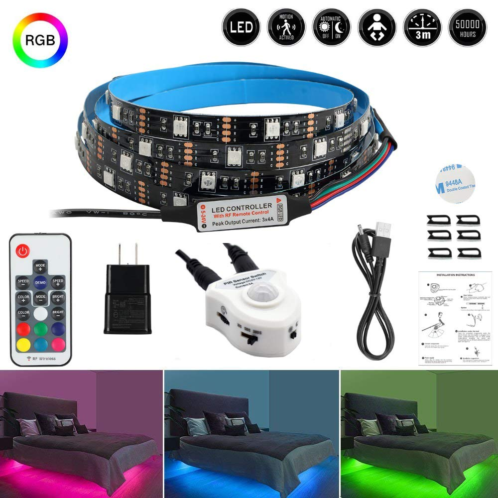 LEHOU Motion Bed Light LED Strip, Motion Sensor Night Light Bedside Lamp Illumination RGB Color Include Warm Color, Stick Anywhere, Auto Shut Off Timer- for Kitchen Cabinets Bedroom Under Bed Lights by LEHOU