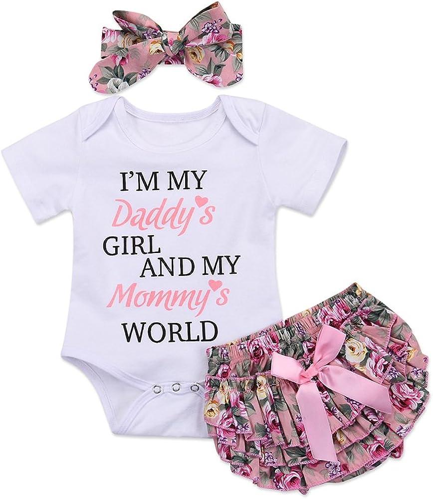 Honykids 4PCS Newborn Baby Girl Romper Jumpsuit Bodysuit +Pants  Shorts+Headband Outfit Set