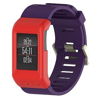 Carcasa de silicona para reloj inteligente Garmin Vivoactive HR, Peibo H300, de alta calidad, fino, 0.01 pounds, color rojo: Amazon.es: Deportes y aire ...