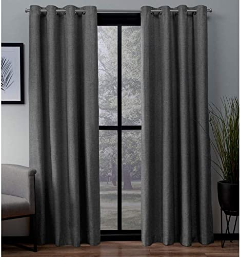 Exclusive Home Curtains London Textured Linen Thermal Window Curtain Panel Pair