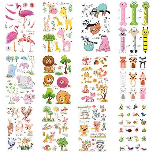 12 Sheets 150 PCS Zoo Animal Temporary Tattoos For Kids Lions Zebra Sloth Giraffe Flamingos Elephant Elk Jungle Animal Cartoon Face Stickers for Girls Boy Children Body Art(Animal) - 12 Temporary Kids Tattoos