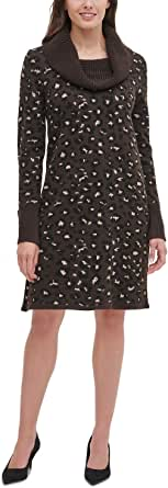 Tommy Hilfiger Women's Printed Cowl Neck Sweater Dress
