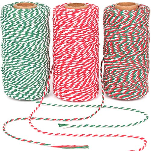 Eison Holiday Twine Bakers Twine Cotton Bakery String Rope Cord for Baking, Butchers, and Holiday Gift Wrapping, Arts Crafts 984 Feet Multi Color- Red Green White Twine