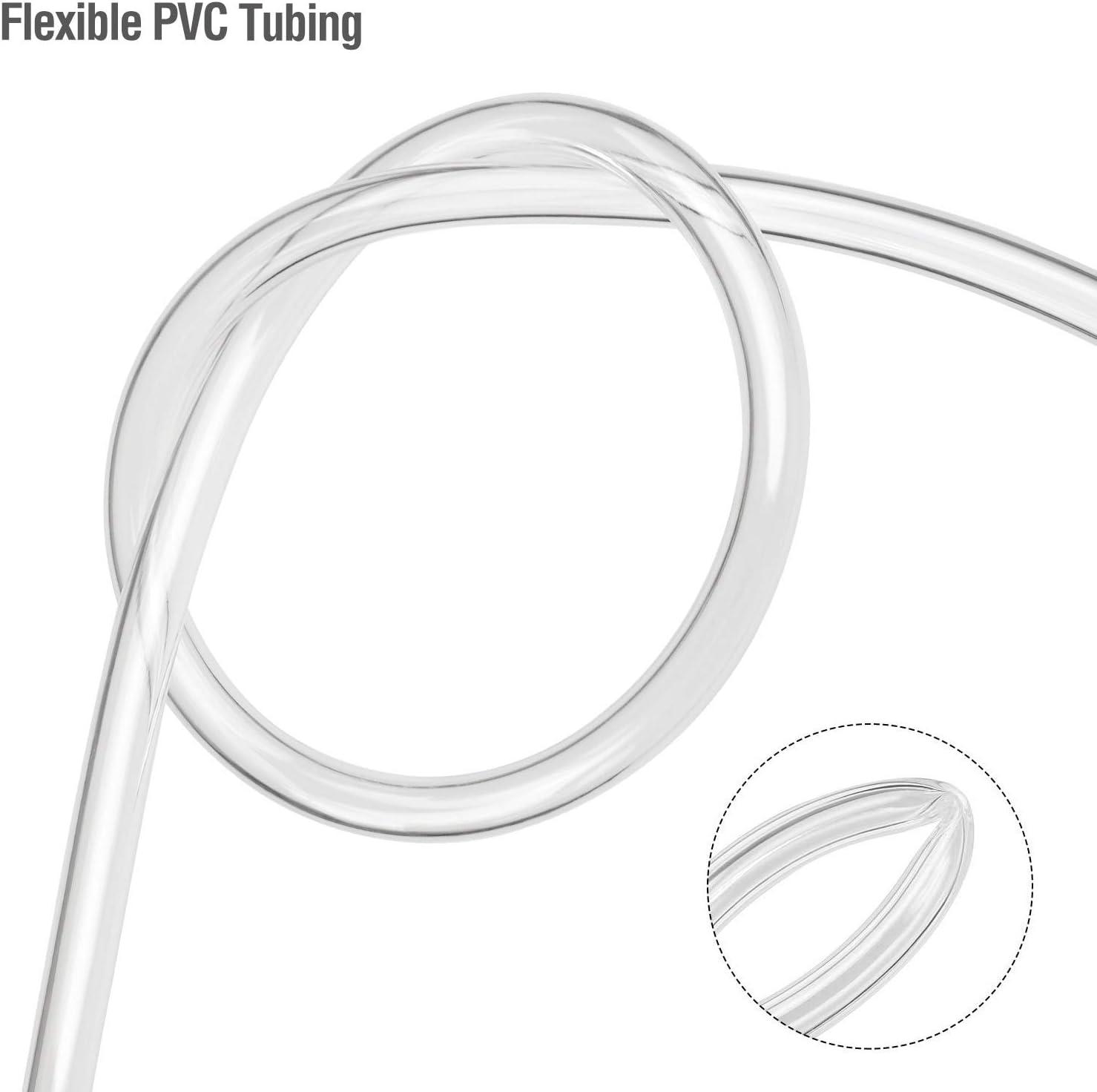 Tubo flexible de PVC de grado alimenticio 8 mm ID x 11 mm Hyber/&Cara di/ámetro exterior de 5 m con 2 abrazaderas de manguera